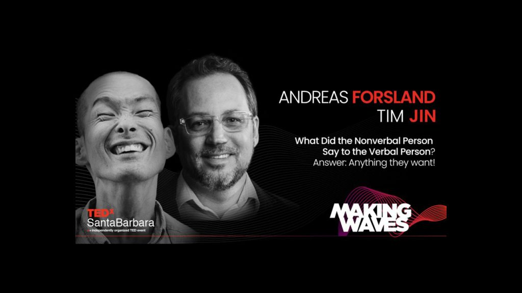 Promotional photo for a TEDx talk, the fly has black and white portraits of both presenters: Tim Jin and Andreas Forsland.
