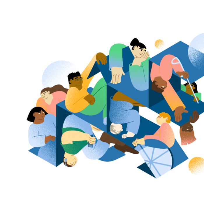 Illustration for the Inclusion Labs website, a group of racially and gender-diverse people are positioned in a series of squares. These boxes are not closed, but open, allowing the individuals to reach out, and across, interacting with each other.